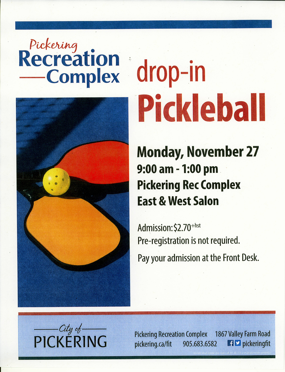 Pickering Recreation Complex Introduces Pickle Ball – November 27th